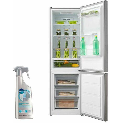 AMICA Réfrigérateur frigo combiné inox 295L FROID ventilé Autonomie 15H - Inox