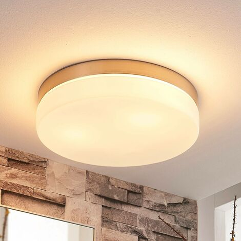 Amilia white ceiling lamp with nickel frame, IP44