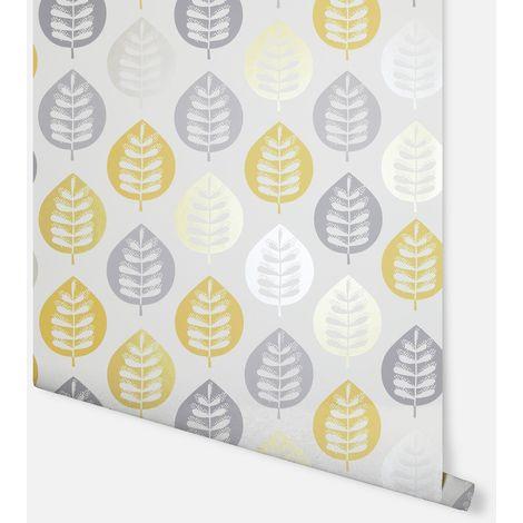 Amira Leaf Ochre Wallpaper - Arthouse - 907402