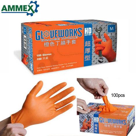 AMMEX, 100 piezas de guantes desechables, guantes de goma de nitrilo,L