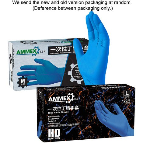 AMMEX 100Pcs Disposable Nitrile Rubber Glove Powder Free Strong Stretchy Gloves S Size