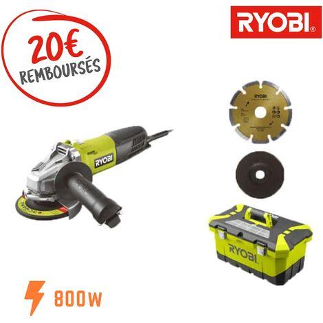 Amoladora angular RYOBI 800 W 125mm - 1 disco de diamante - 5 discos de amolar - Caja de herramientas RAG800-125TA6