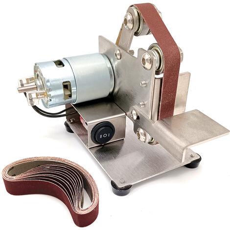 Amoladora multifuncional Mini lijadora de banda electrica DIY pulidora de pulido cortador de bordes afilador, plateado, Type1