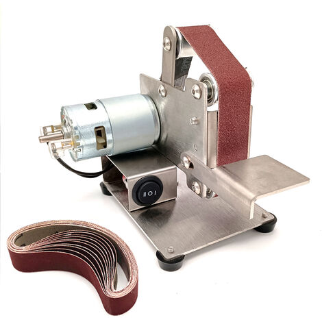 Amoladora multifuncional Mini lijadora de banda electrica DIY pulidora maquina de pulir cortador de bordes afilador, plateado, Type4