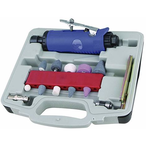 """Amoladora Rectificadora Neumática Fresadora Mini Con Conexión De Aire 1/4"""" Para Compresor - Kit 17 Piezas"""