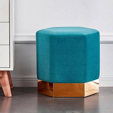 "main image of ""Amore LUX Velvet Pouffe | Footstool | Living Room Furniture | Hexagon Shape | Modern Pouffe (Teal)"""