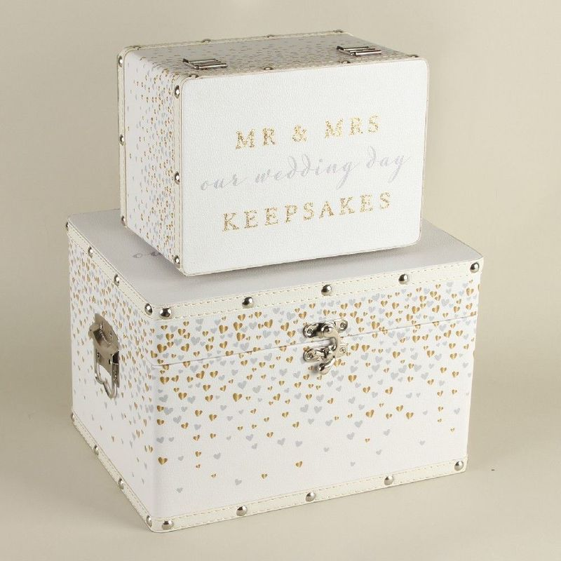 Image of BY JULIANA� Set of 2 Luggage Boxes - Mr & Mrs - Amore