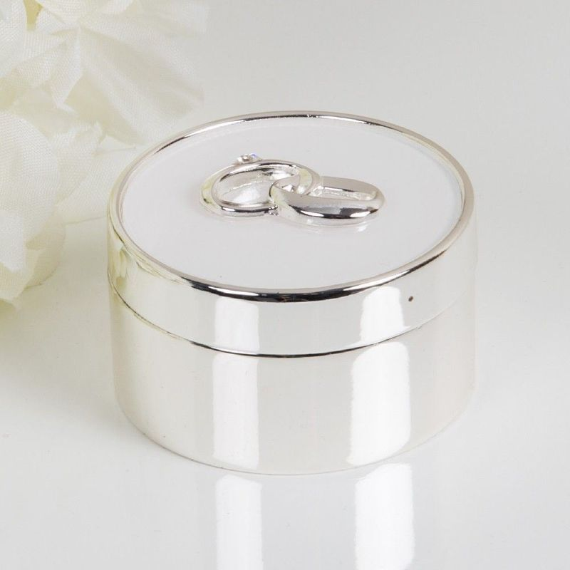 Image of BY JULIANA� Silver Plated & White Epoxy Ring Box - Amore