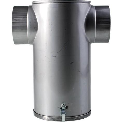Amortisseur de bruit en inox en T, avec plaque de fond amovible raccord 130 mm