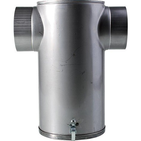 Amortisseur de bruit en inox en T, avec plaque de fond amovible raccord 150 mm
