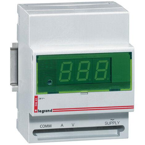 Ampèremètre ou voltmètre digital modulaire lecture 0A à 8000A et 0V à 500V 230V~ 50Hz à 60Hz 4 modules (004663)