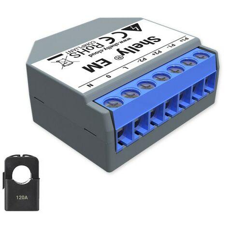 Ampèremètre Wi-Fi 120A compatible avec pinces ampèremétriques - Shelly
