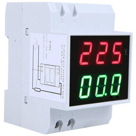 "main image of ""Amperimetro de voltaje LED de carril DIN digital Voltimetro medidor de corriente AC80-300V 0.2-99.9A Pantalla dual"""