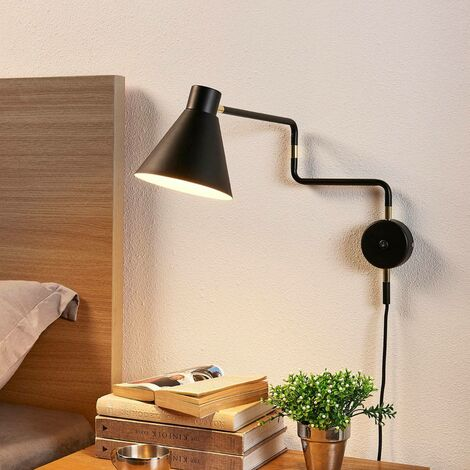 Amplia lámpara de pared LED Pria en negro