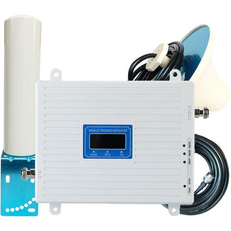 Amplificador de triple banda 900 1800 2100 MHz GSM DCS 3G Amplificador de senal universal Kit de repetidor inteligente, con antena de barril exterior