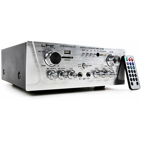 Amplificador estéreo Música Karaoke Hi -Fi 100W USB -MP3 / SD Bluetooth WJG ATM2000USB -BT