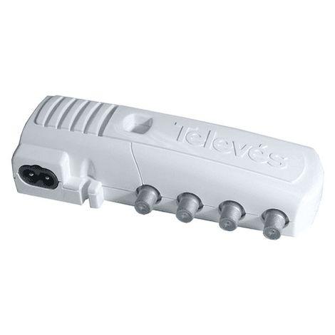 Amplificador TV Interior 1 entrada - 2 salidas + tv 20 dB Blanco