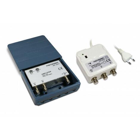 Amplificateur coupleur d'ext./2 entrées UHF 30 dB + alimentation