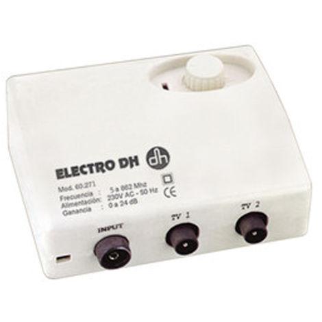Amplificateur d'antenne Electro DH, pour TNT, faible bruit, réglage du gain de 0 à 24 dB, avec commutateur, 60.271