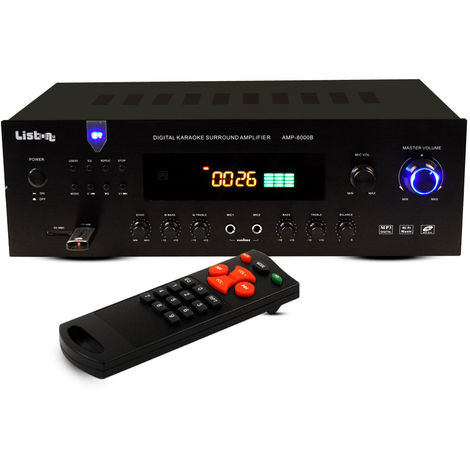 Amplificateur de 600 watts avec Bluetooth, MP3 et USB/SD AMP 8000 B