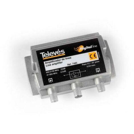 Amplificateur de ligne satellite FI 20dB 5-2150Mhz TELEVES 7485