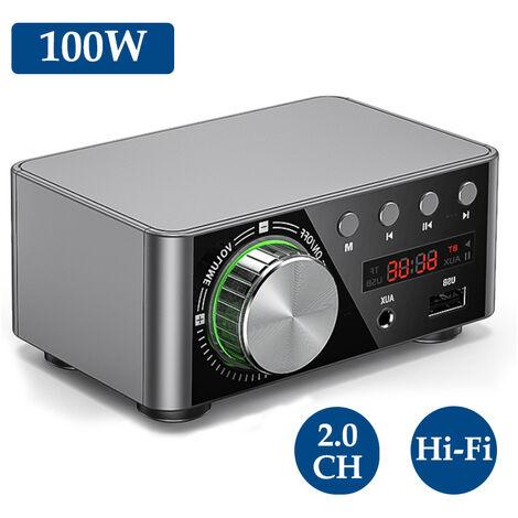 Amplificateur de puissance numerique Bluetooth Amplificateur de puissance de classe D Mini amplificateur de puissance, argent (sans alimentation)