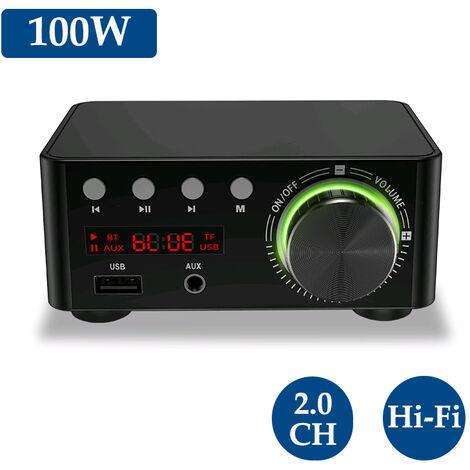 Amplificateur de puissance numerique Bluetooth Amplificateur de puissance de classe D Mini amplificateur de puissance, Lecteur MP3 sans perte (sans alimentation) noir