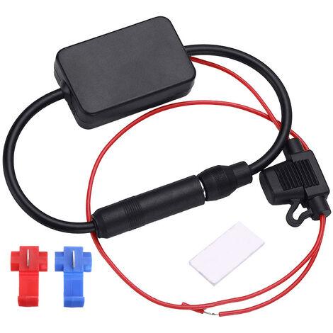 Amplificateur de signal d'antenne FM 12.0V stereo automatique Antenne radio FM Amplificateur radio Accessoires electroniques de voiture, modele: Noir 3