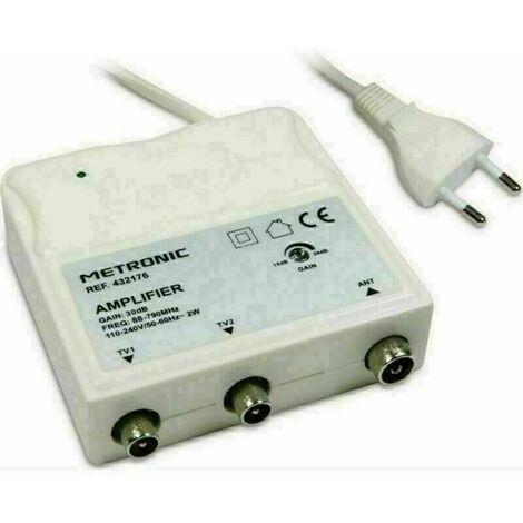 Amplificateur d'intérieur 30Db 1 entrée/ 2 sorties FM/UHF à réglage de gain