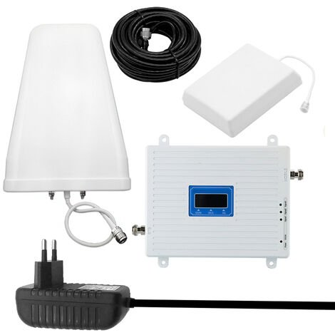 Amplificateur tri-bande universel 900/1800/2100 GSM DCS WCDMA 2G / 3G / 4G LTE kit amplificateur de signal 100-240V large tension norme europeenne