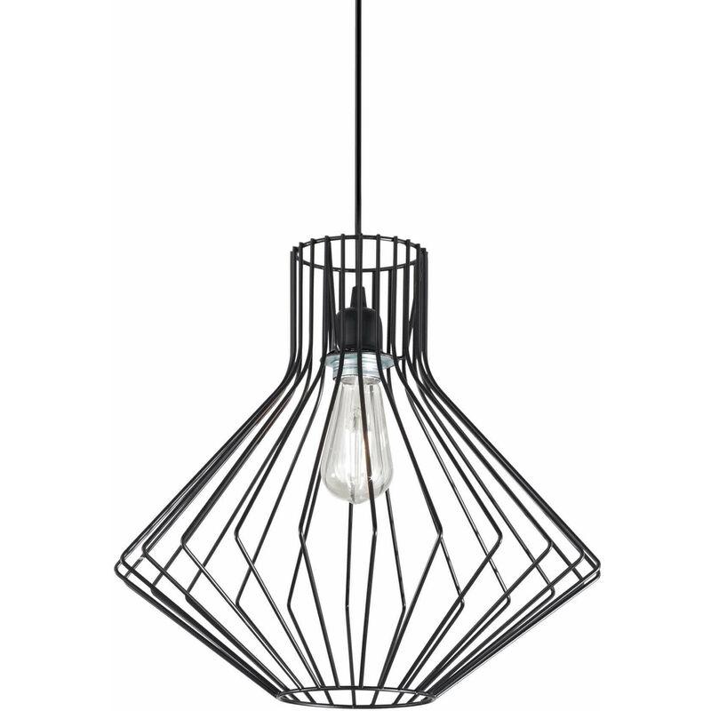 01-ideal Lux - AMPOLLA schwarze Pendelleuchte 1 Glühbirne