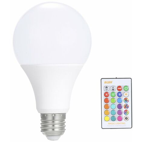 Ampoule 15W Rvb Led E27, Projecteur A Couleurs Multiples, Telecommande Ir