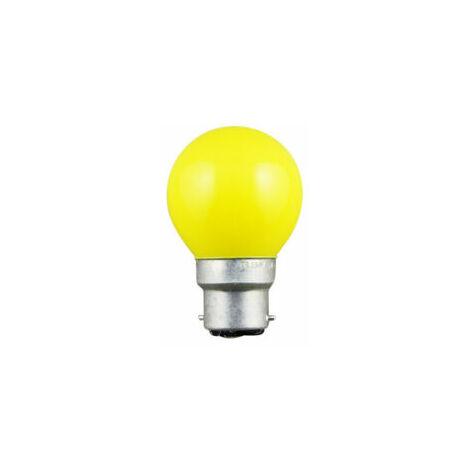 Ampoule Couleur JAUNE Sphérique 230V 15W B22D BOITE