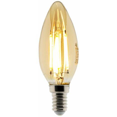 Ampoule Déco filament LED ambrée Flamme 4W E14 400lm 2500KK