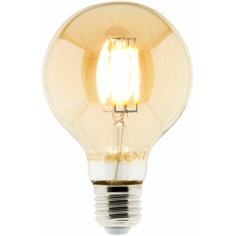 Ampoule Déco filament LED ambrée Globe 6W E27 720lm 2500K