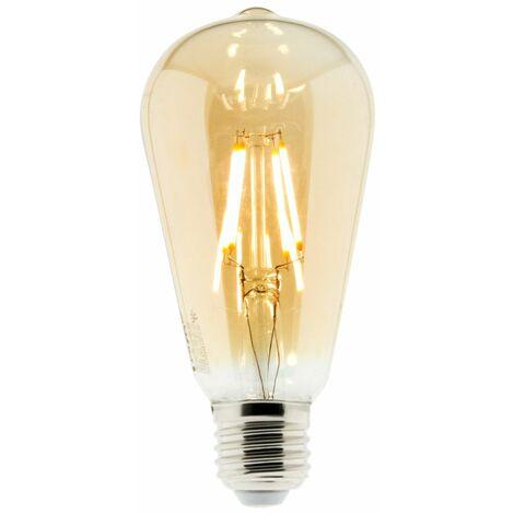 Ampoule Déco filament LED ambrée ST64 4W E27 400lm 2500K