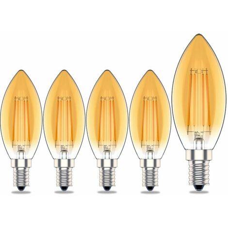 Ampoule E14 Bougie à Intensité Variable Flamme,4W Equivalence Incandescence 40W,Blanc Chaud(2700K),400lm, Vintage Antique Ambre,Lot de 5 [Classe énergétique A+]