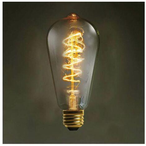 Ampoule E27 Filament Spiralé Incandescente - 40W Blanc Chaud - Transparent