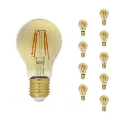 Ampoule E27 LED Filament Dimmable 6W A60 Classique (Pack de 10) - Blanc Chaud 2300K - 3500K - SILAMP