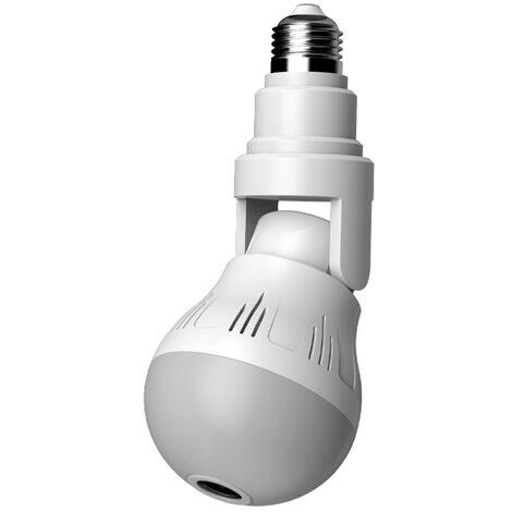 Ampoule En Forme De Systeme De Securite Camera De Surveillance Camera Panoramique Ampoule D'Eclairage Smart Home Dispositif De Connexion Sans Fil A Distance Surveillance 110V-220V, Blanc, Pixels De 500 W