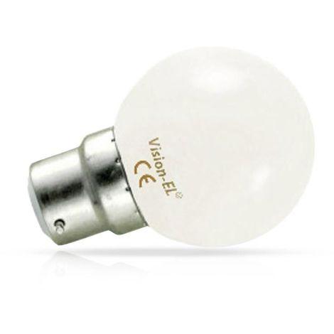 Ampoule LED 1W (9W) B22 Blanc jour 6000°K Boule Ø45 opale incassable 95 lm