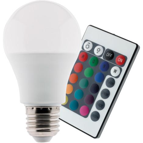Ampoule LED 7,5W E27 de couleurs RGB avec télécommande