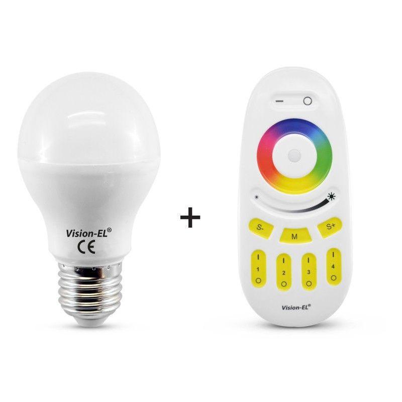 Ampoule LED 7W (60W) E27 RGB+Blanc avec télécommande