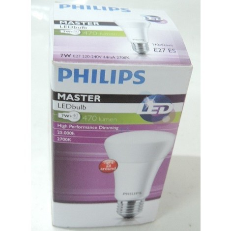 Ampoule LED 7W format A60 blanc chaud 2700K culot E27 470lm dimmable Master LEDBULB PHILIPS 671961