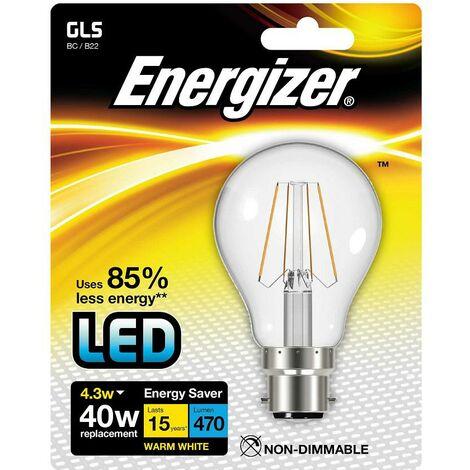 Ampoule LED à Filament Culot à Baïonnette Économie Énergie B22GLS 4,3W Energizer