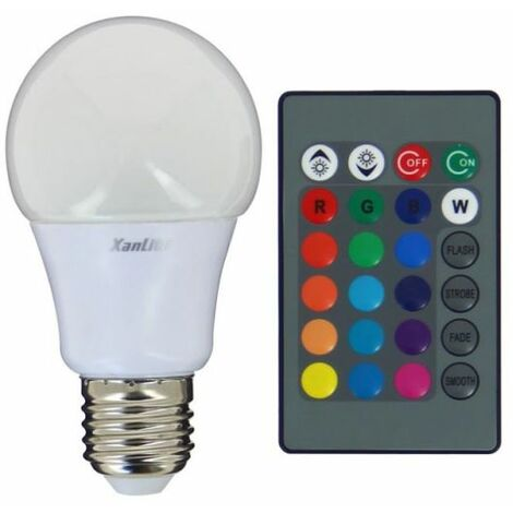 Ampoule LED A60, culot E27, 5W cons. (60W eq.), lumière blanc chaud ou lumière RVB avec télécommande