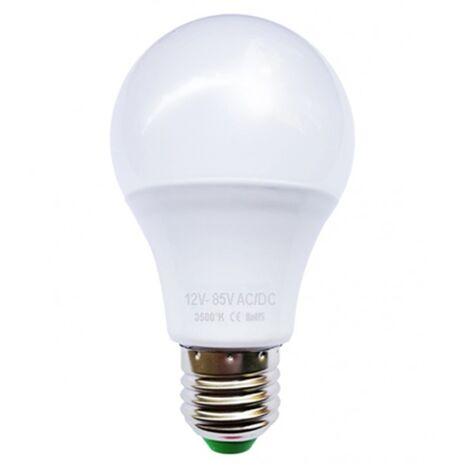 Ampoule LED bulbe E27, 6W 12V-24V AC/DC, blanc chaud 3500°K