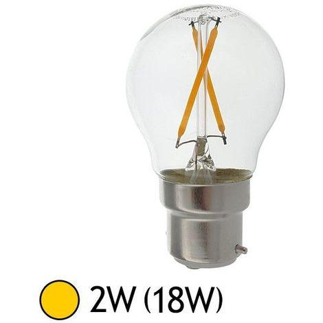 Ampoule LED COB à Filament 2W (18W) B22 Blanc chaud 2700°K Bulb clair