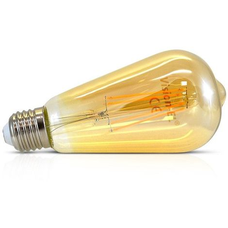 Ampoule LED COB A FILAMENT 5W (45W) E27 Blanc chaud 2700°K ST64 golden