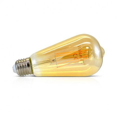 Ampoule LED COB A FILAMENT 8W (70W) E27 Blanc chaud 2700°K ST64 golden